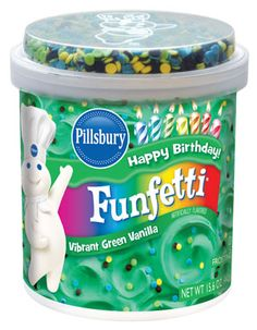 Funfetti® Vibrant Green Vanilla Frosting - Pillsbury Baking.  I NEED this for Troy's cake! Where can I find it!?