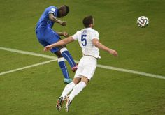 Balotelli scores in the 50th minute, his first World Cup goal