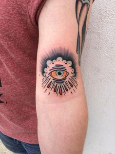 Riedl - Traditional color eye crying in clouds tattoo Mike Riedl Art ...