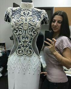 Shop sexy club dresses, jeans, shoes, bodysuits, skirts and more. Embroidery Fashion, Embroidery Dress, Beaded Embroidery, Skating Dresses, Dance Dresses, Couture Dresses, Fashion Dresses, Tambour Beading, Dance Outfits