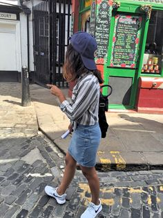H&M SHIRT, AMERICAN APPAREL DENIM SKIRT, NIKE ROSHE RUN TRAINERS, CONVERSE CAP, TOPSHOP BACKPACK