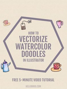 Click through to learn how to vectorize watercolor doodles using Adobe Illustrator. The free video walks you through how to use the Pentel waterbrush to create fun watercolor doodles, then you can scan and digitize your waterdoodles to make anyth Web Design, Graphic Design Tutorials, Tool Design, Graphic Design Inspiration, Design Ideas, Lettering, Typography Design, Branding, Surface Pattern Design
