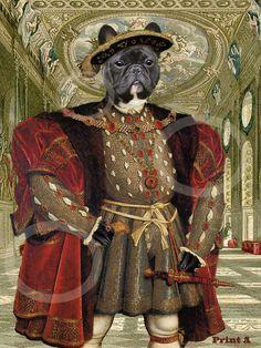 French Bulldog Tudor King Henry VIII Brindle Black by ArtFilledEye