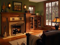 Living Room - would love to modify my front living room windows more like this (but square of course) - and would love to replace the east living room wall with a 1/2 wall of built-ins like these to the right of the fireplace