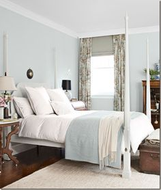 Blue-and-White Bedroom palest robin's egg blue (Albermarle Blue by Darryl Carter Colors by Benjamin Moore) Read more: Blue Rooms - Ideas for Blue Rooms and Home Decor - Country Living Pale Blue Bedrooms, Blue Rooms, Style At Home, Home Design, Interior Design, Design Ideas, Design Inspiration, Bedroom Paint Colors, Suites