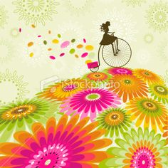 love the bright flowers, love the girl on the bike too