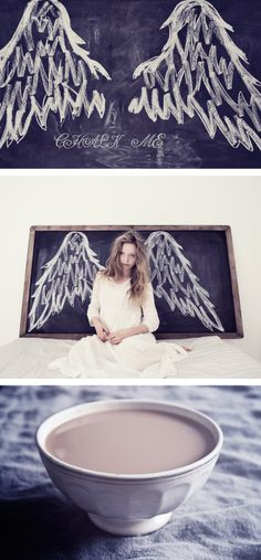 honeypieLIVINGetc: kritor & morgonkaffe chalk board angel wings