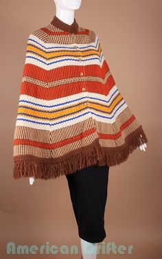 Vintage 60s Poncho Earth Tones Autumn Knit Boho Hippie by AmericanDrifter