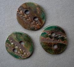 3 beauty raku ceramic buttons with a reflection by ClayLadyArt