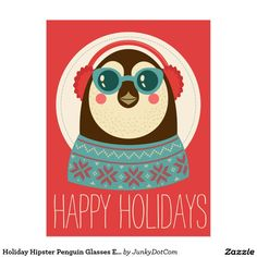 Holiday Hipster Penguin Glasses Earmuffs Knit Postcard