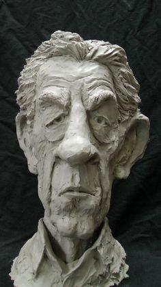 Resin Composite Portrait Sculptures / Commission or Bespoke or Customised sculpture by sculptor Richard Austin titled: 'Bust of Sir Ian McKellen (Caricature Portrait statue)'