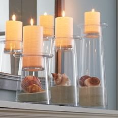 glolite candles are the PRETTIEST EVER! and love the seashell and sand look! :)