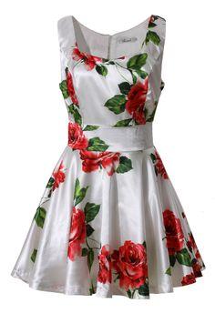 Red Rose Print Dress