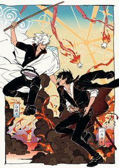 Gintoki and Hijikata fighting