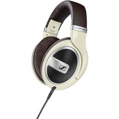 Sennheiser Pale Yellow/Brown HD 599 Around the Ear Headphones ($200) ❤ liked on Polyvore featuring accessories, tech accessories, brown, sennheiser headphones and sennheiser