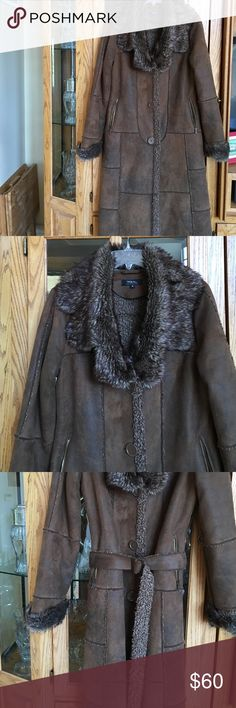 Tribal faux suede coat with faux fur collar Very rich and classy faux suede coat with faux fur collar size 8 Machine washable TRIBAL Jackets & Coats Trench Coats