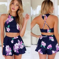 Stylish Lady Sexy Womens Floral Printed Pants Set Casual Halter Off-shoulder Backless Crop Tops And Shorts