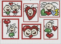 Swetlanquins of Joy: febrero 2010 Baby Cross Stitch Patterns, Cross Stitch Heart, Cute Cross Stitch, Pixel Crochet Blanket, Crochet Chart, Crochet Patterns, Hama Beads, Stitch Doll, Graph Paper Art
