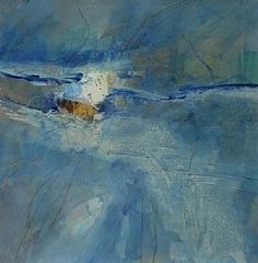 Blue on Blue by Carol Staub Mixed Media ~ 35 x 35