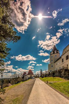Castle / street by ChristianThür Photography on Creative Market Sunny Days, Natural Beauty, Beautiful Places, Castle, Clouds, Mansions, Country, Street, House Styles