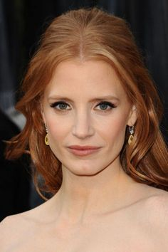 Loved Jessica Chastain's hair & makeup - Copper Hair Redhead Bride, Wedding Makeup Redhead, Redhead Makeup, Best Bridal Makeup, Wedding Makeup Tips, Natural Wedding Makeup, Bride Makeup, Wedding Hair And Makeup, Wedding Beauty
