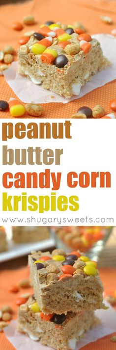 Chewy Peanut Butter Krispie treats topped with Candy Corn, Peanuts, and Reese's Pieces.