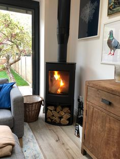 Here we have the installation of a: - Dik Guerts Folke Freestanding Wood Burning Stove with Log Store House, Living Room Corner, Home, Fireplace Design, Open Plan Kitchen Living Room, House Inspiration, New Homes, Log Burner Living Room, House Extension Design