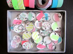 the tiny hummingbird: DIY washi tape gift tags. I would cover the tags completely.