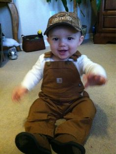 How cute is he??! Def getting these Carhartt overalls for our future baby boy :)