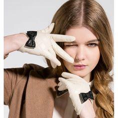 Gants en cuir noir pour femme finition bowknot