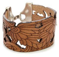 "Amazon.com: Streets Ahead 1 1/2"" Brown Italian Leather Laser Cut Cuff Bracelet: Jewelry"