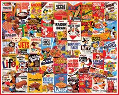 What's for Breakfast -500 piece Family Jigsaw Puzzle by White Mountain Puzzles.   3 different size pieces.  Big Piece for kids.  Smaller pieces for adults.  Fun for the whole family.