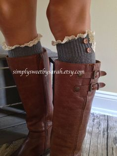 Charcoal Boot Socks knit lace trim and by SimplySweetbySarah