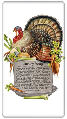 Turkey Soup Pot - Recipe on a Cotton Flour Sack Dish Towel Tea Towel. Used as a placemat for out of the freezer, leftover Thanksgiving Soup Thanksgiving Turkey, Thanksgiving Recipes, Holiday Recipes, Thanksgiving Graphics, Holiday Treats, Turkey Recipes, Soup Recipes, Cooking Recipes, Yummy Recipes