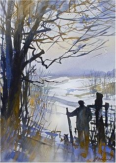 a hike in ohio by Thomas W. Schaller Watercolor ~ 22 inches x 14 inches Pen And Watercolor, Watercolor Landscape, Watercolor Paintings, Watercolors, Winter Scene Paintings, Paintings I Love, Ohio Hiking, Winter Scenes, Cool Artwork