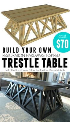 Build a Restoration Hardware Inspired Trestle Door Table via @Remodelaholic #knockoff