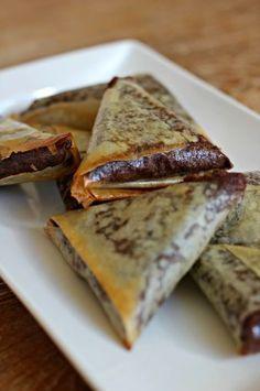 Samoussa au chocolat. La banane peut être remplacée par d autres fruits exemple poire
