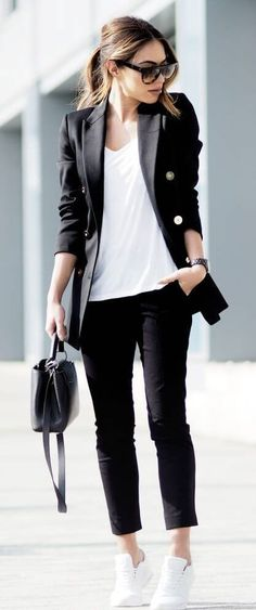 office wear: blazer, ankle pants, white tee, tennis shoes, practical bag - love all of this and would wear the heck out of it.