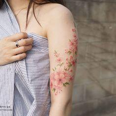 Silo #cherryblossom #tattoo #watercolortattoo More