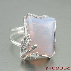 Handmade Woman 925 Sterling Silver Opalite Ring size 6 Leaf