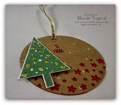 Be Creative with Nicole: Festival of Trees Gift Tags double layer gift tag made with the Festival of Trees bundle and Confetti Star punch. Stampin' Up!