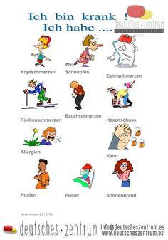 German vocabulary - Illness www. Study German, German English, Learn German, Learn English, German Grammar, German Words, German Resources, Deutsch Language, Germany Language