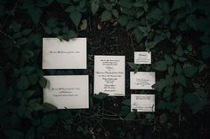 formal black and white stationery suite; wedding oregon Dramatic Forest Wedding in Oregon Photographed by Christy Cassano-Meyers Wedding Stationery, Wedding Planner, Wedding Invitations, Forest Wedding, Our Wedding, Lady In My Life, Dark Fairytale, Father Daughter Dance, Bride Look