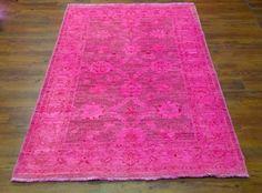 Stunning hot pink overdyed rug. Hot pink – exact size 3'11 x 5'10 #pink #overdyed #rug