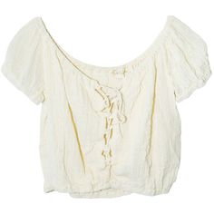 Jen's Pirate Booty Frontier Crop Top in Cream ($110) ❤ liked on Polyvore featuring tops, shirts, crop tops, blouses, off-the-shoulder tops, lace up front top, cream top, white off shoulder top and white crop top