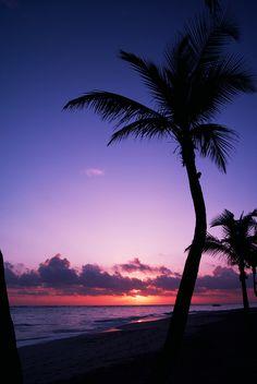 Pôr-do-sol sob Punta Cana, República Dominicana. #Viagem #Caribe