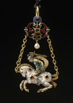 Gold enamelled pendant- jewel depicting a galloping horse with warrior. The horse and rider are depicted facing left but are executed completely in the round. The group is an excellent example of the technique of émail en ronde bosse. The white-enamelled Renaissance Jewelry, Medieval Jewelry, Ancient Jewelry, Horse Jewelry, Jewelry Art, Fine Jewelry, Jewelry Design, Enamel Jewelry, Antique Jewelry