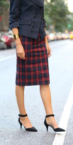 Tartan + Navy | fall/winter fashion.