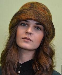 """Купить Шляпа """"Осенние краски"""" валяная - рыжий, однотонный, Шляпа валяная, шляпка валяная"""