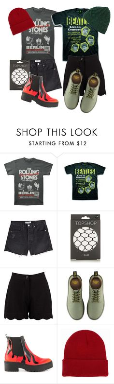 """""""Beatles Vs. Stones"""" by leader-of-the-pack1226 ❤ liked on Polyvore featuring Frame, Topshop, Boohoo, Dr. Martens, Iron Fist and NLY Accessories"""